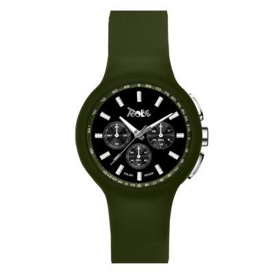 Orologio in silicone anallergico verde militare e contatori neri