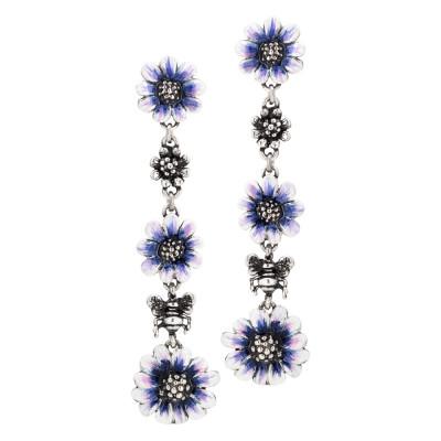 Orecchini pendenti con margherite dipinte di blu a mano e in argento brunito