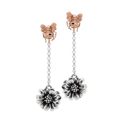 Orecchini pendenti con apina in argento placcato oro rosa e margherita brunita