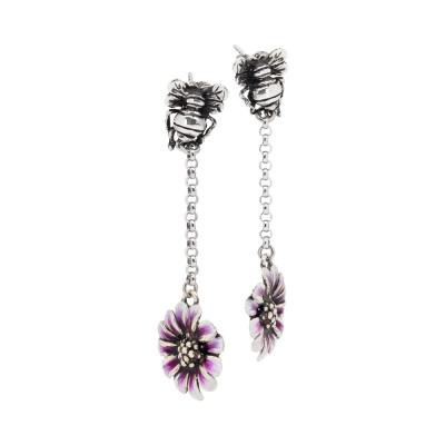 Orecchini pendenti con apina in argento brunito e margherita dipinta a mano di viola