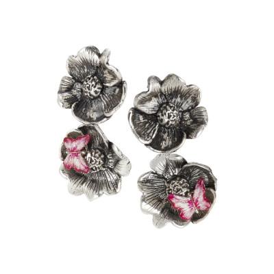 Orecchini con fiori di ciliegio brunito e farfalla fucsia dipinta a mano