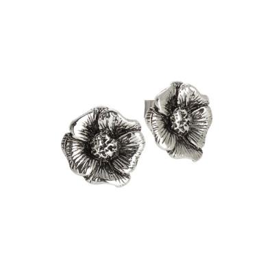 Orecchini a lobo in argento brunito con fiore di ciliegio