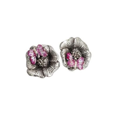 Orecchini a lobo in argento brunito con farfalla dipinta a mano