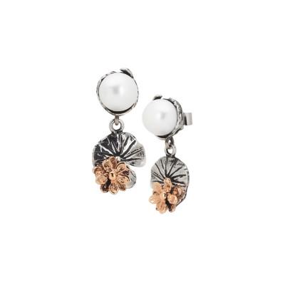 Orecchini pendenti con perla naturale , foglia di ninfea brunita e fiore rosato