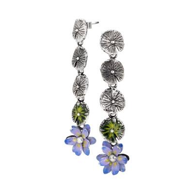 Orecchini pendenti con foglie di ninfea brunite e dipinte a mano e fiore di ninfea finale dipinto di lilla