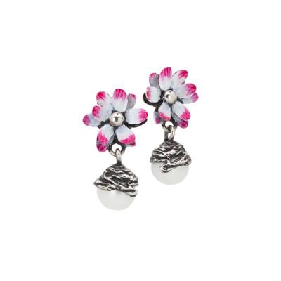 Orecchini con fiore di ninfea fucsia e perla naturale