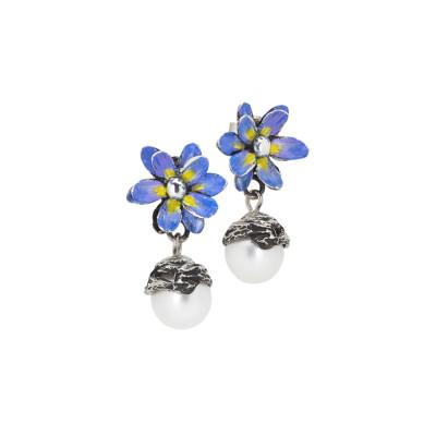Orecchini con fiore di ninfea lilla e perla naturale