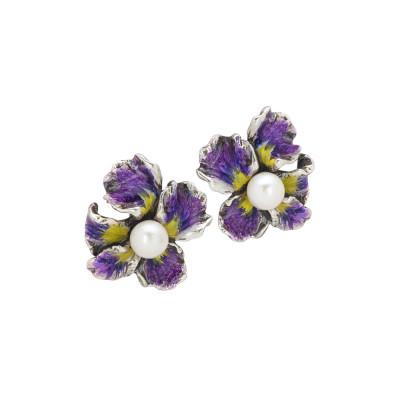 Orecchini con fiore di iris a lobo dipinto di viola e perle naturali