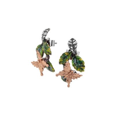 Orecchini con foglie di ulivo dipinte a mano e farfalla placcata oro rosa