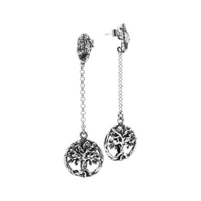 Orecchini in argento brunito con albero della vita pendente