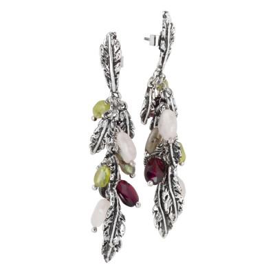 Orecchini in argento brunito con foglie piuma e pietre naturali colorate