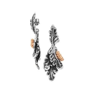 Orecchini con foglie piuma brunite e bruco placcato oro rosa