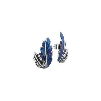 Orecchini a lobo con foglia piuma in argento dipinto di blu