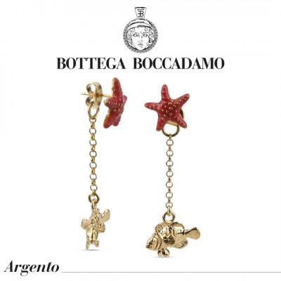 Orecchini doppio indosso con stella marina color corallo e pendente