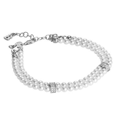 Bracciale due fili di perle Swarovski con passanti in argento e zirconi