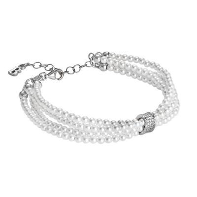 Bracciale multifilo di perle Swarovski, argento e zirconi