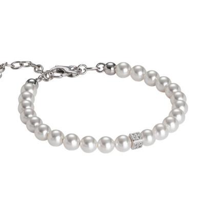 Bracciale in perle Swarovski e cubetto centrale in zirconi