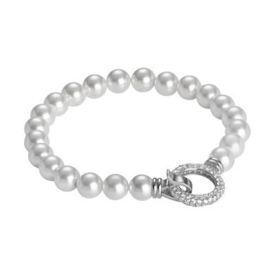 Bracciale con filo di perle Swarovski e chiusura a scatto circolare in zirconi