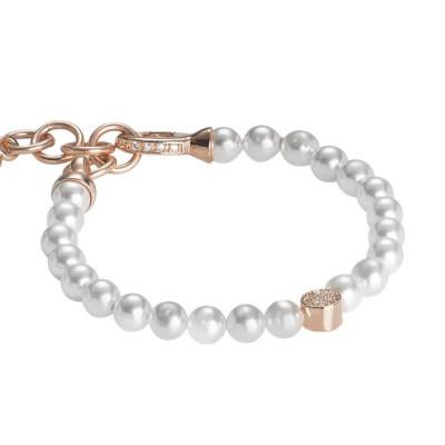 Bracciale rosato con perle Swarovski e centrale in zirconi e argento