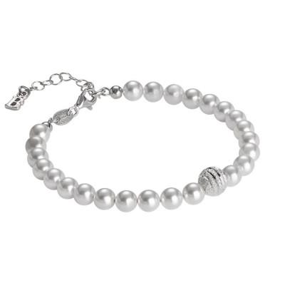 Bracciale di perle Swarovski con centrale satinato in argento