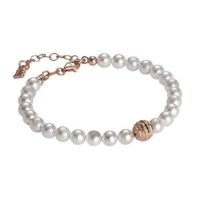 Bracciale di perle Swarovski con centrale satinato in argento rosato