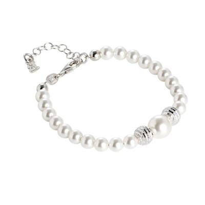 Bracciale con perle Swarovski e sfere diamantate