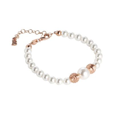 Bracciale rosato con perle Swarovski e sfere diamantate