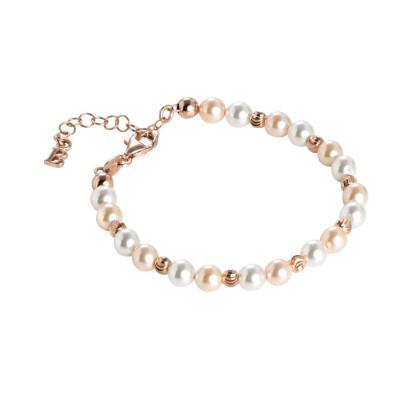 Bracciale rosato con perle Swarovski alternate a sfere diamantate