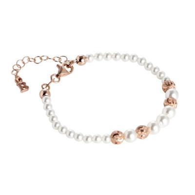 Bracciale rosato con perle Swarovski degradè e passanti diamantati