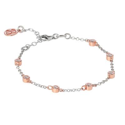 Bracciale bicolor con zirconi taglio diamante