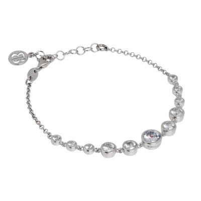 Bracciale in argento rodiato con zirconi degradè centrali