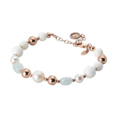 Bracciale placcato oro rosa con perle naturali, acqua marina e agata bianca