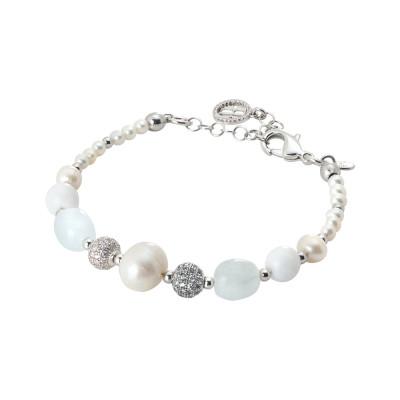 Bracciale rodiato con perle naturali, acqua marina e agata bianca