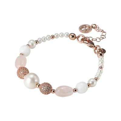 Bracciale placcato oro rosa con perle naturali, quarzo rosa e agata bianca