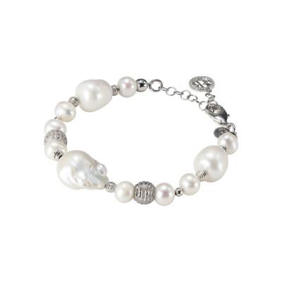 Bracciale rodiato con perle naturali e barocche