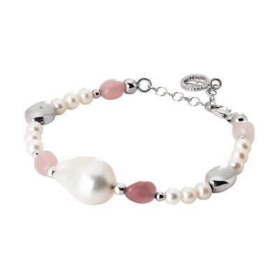 Bracciale con perle naturali e quarzo rosa