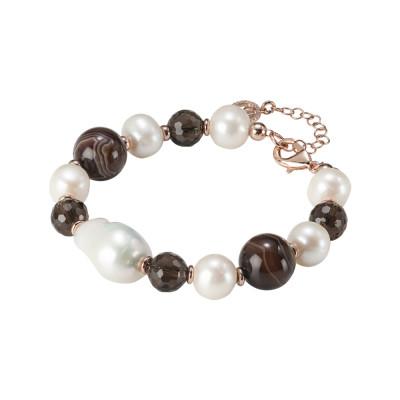 Bracciale con perle naturali, agata mix brown e quarzo fumè