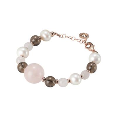 Bracciale con perle naturali, quarzo fumè e quarzo rosa
