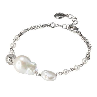 Bracciale doppio filo con perle naturali e passante di zirconi