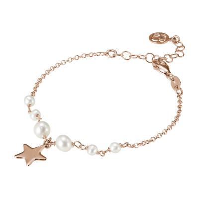 Bracciale placcato oro rosa con perle naturali e stella pendente.