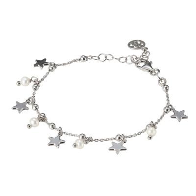 Bracciale con perle naturali e stelle pendenti