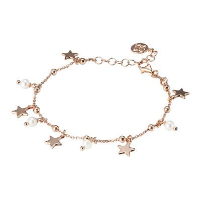 Bracciale placcato oro rosa con perle naturali e stelle pendenti