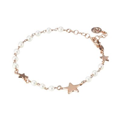 Bracciale placcato oro rosa con perle naturali e stelle laterali