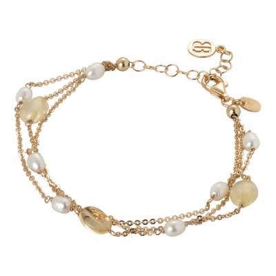 Bracciale multifilo con quarzo citrino e perle naturali
