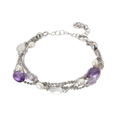 Bracciale multifilo con perle naturali, ametista e cristallo di rocca