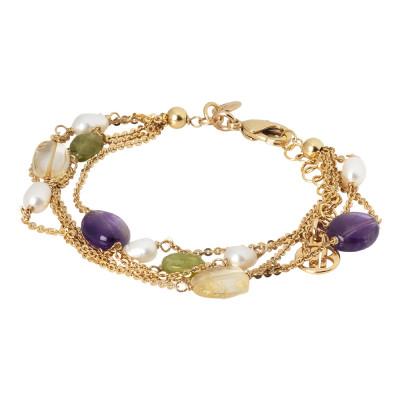 Bracciale multifilo con perle naturali, ametista, quarzo citrino e peridotto