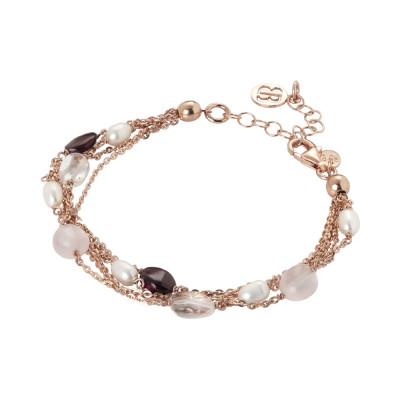 Bracciale multifilo con perle naturali e quarzo rosa.