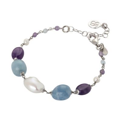Bracciale con perle naturali, ametista e acquamarina