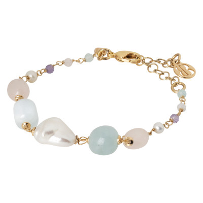 Bracciale con perle naturali, ametista, acquamarina