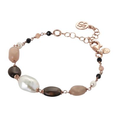 Bracciale con perle naturali, quarzo fumè, pietra di luna e spinello